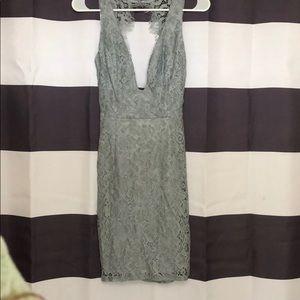 open back, plunge front, lace mini dress